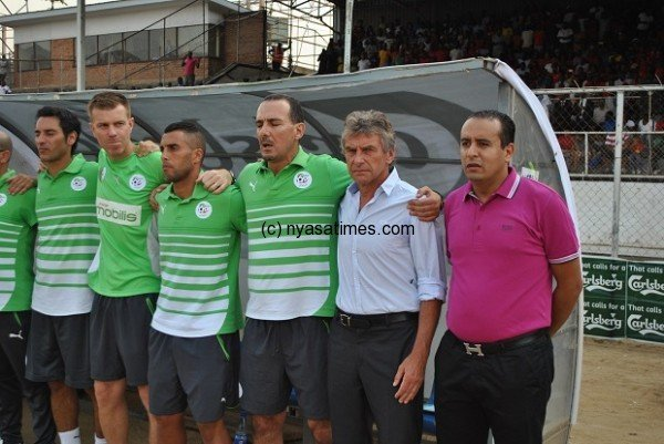 Algeria officials and players in Malawi: Accused of gifting Mali qualification....Photo Jeromy Kadewere