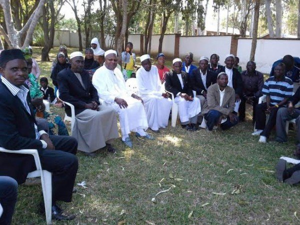 Bakili Muluzi at his Kapoloma village  relaxing with fellow Moslems at the end of Ramadhan
