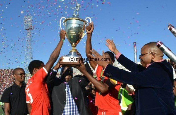 Bullets lift their TNM Super League cup, glory to the champions.-Photo by Mphatso Nkhoma, Nyasa Times