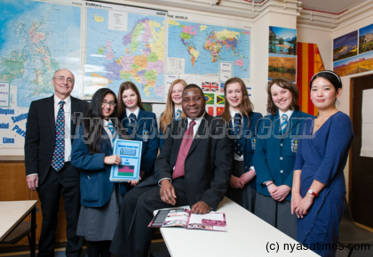 The Commissioner paused for a quick chat with a pupil action group for global equality and fairness (the J8 Group) who gave him a petition of over 900 names asking the government of Malawi to increase access to education.