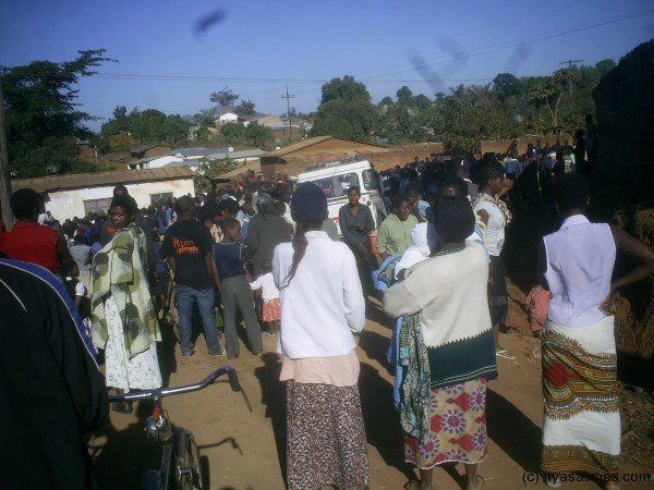 On lookers at an accident in Zomba