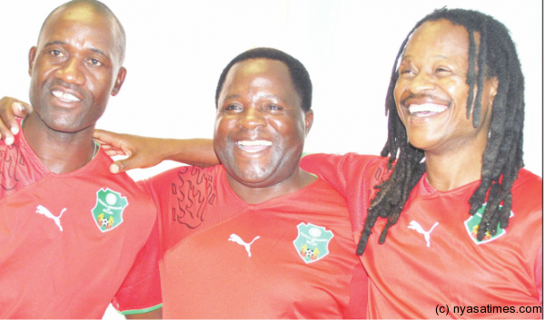 Malawi coaches Ng'onamo (centre) and his assistant Patrick Mabeni and Ernest Mtawali: Last chance saloon to get qualification