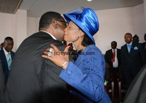 President Mutharika gets lovely hug from 'First Lady' Getrude Maseko