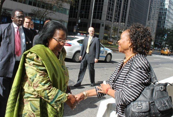 Deputy Ambasador for Malawi to the UN, Esther Mcheka Chilenje, with President Joyce Banda in New York recently- pic by Lisa Vintulla
