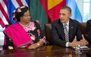Obama with Joyce Banda at White House