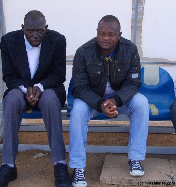 Tigers coach Leo Mpulula in a black jacket with his assistant Macdonald Yobe....Photo Jeromy Kadewere