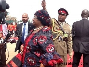 President Banda addressing journalists before departure