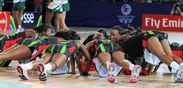 Malawi Queens with  their synchronised press-ups at the court